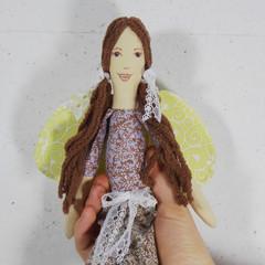 Winni Cloth Doll - Heirloom Style Fabric Fairy in Ditsy Floral Pyjamas
