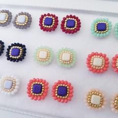 Beads earrings, Beads stitch earrings, Beads stud earring, Glass beads