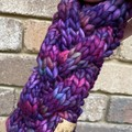 Cable knit headband chunky braided earwarmers merino pink purple