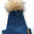 Handmade knitted blue beanie, fake fur PomPom merino beanie, mens beanie, ladies