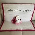 Handmade crochet Unicorn and matching blanket