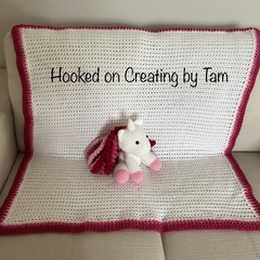 Handmade crochet Unicorn and matching blanket