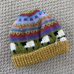 Yellow sheep Beanie - to fit approx size 6-12 months -hand knitted