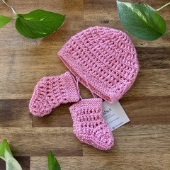 REDUCED TO CLEAR- Newborn Candy Pink Beanie & Bootee Set-Knitted, gift