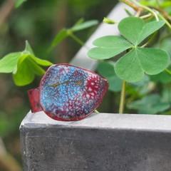 Red Dandelion - copper enamel ring