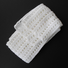 White Crochet Scarf in Cotton Ready To Post