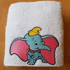 """Big Eared Blue Circus Elephant "" Embroidered Towel"