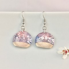 Pink and Blue Round Wooden Inlay Drop Earrings