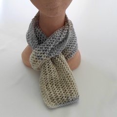 Hand Knitted Cotton Scarf in Cream, Gray and Beige Ready To Post