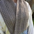 Ladies Crochet Twisted Infinity Scarf | Wool & Bamboo | Natural | Gift Idea