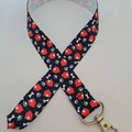 Black red and white dog house and paw print lanyard / ID holder / badge holder