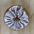 Floral Sandy brown & white cotton scrunchie