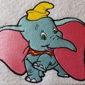 """""""Big Eared Blue Circus Elephant """" Embroidered Towel"""