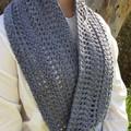 Ladies Crochet Twisted Infinity Scarf | Wool & Bamboo | Grey | Gift Idea