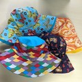 Baby bucket sun hat size L - 52cm - 2 years colourful, butterflies, paisley mice