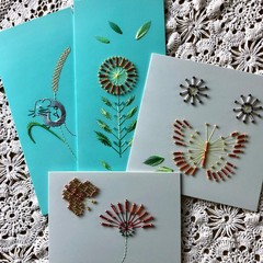 4 Pack of hand stitched Cards