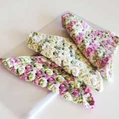 Set of 3 mini crochet cloths in ziplock pouch