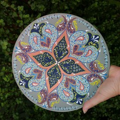 Decorative mandala plate for hanging, Above bed ceramic plate, Intricate boho