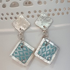 Sterling Silver and Vintage Tin Earrings