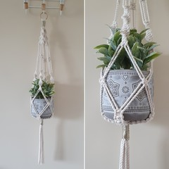 Hand made macrame plant hanger/holder - natural with gold