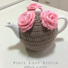 Sparkly Rose TEA COSY, fits most 4-6 cup teapots,  ready to ship