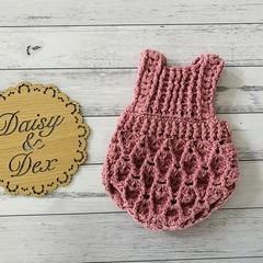 Crochet Elodie Romper, Size 0-3m, 6-9m, 12-18m Baby Girls Playsuit
