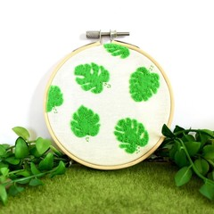 Monstera Felt Art Embroidery Hoop
