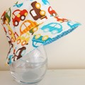 Boys small size summer hat in cars fabric