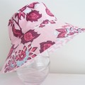 Girls small size wide brim summer hat in floral fabric