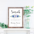 Personalised  Girls Name Meaning Print with Pastel Blue & Mauve Flowers
