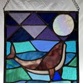 Whale Kiss - Stained Glass Suncatcher