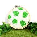 Monstera Felt Art Embroidery Hoop