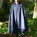 Medium Length Indigo Wool Blend Cloak