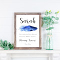 Personalised Name Meaning Print with Blue Water colour Feather