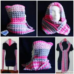 Hooded Scarf in shades of grey and pink