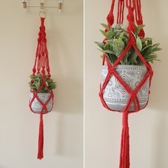 Hand made macrame plant hanger/holder - red
