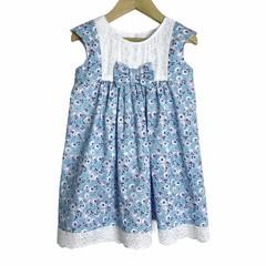 Daity Blue Flowers Girls Dress