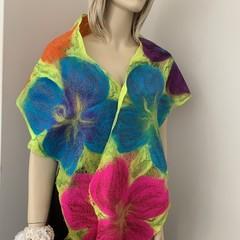 Nuno felted Hand made scarf merino silk cotton gauze
