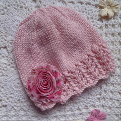 Hand-knitted baby girl's lacy beanie with chiffon flower,  fits 3 – 6 mths
