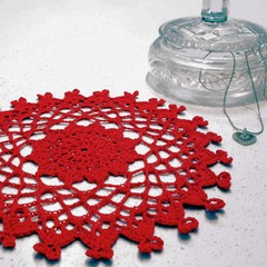 Hearts in Harmony crochet doily