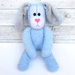 'Bennett' the Sock Bunny - light blue & grey - EASTER - *READY TO POST*