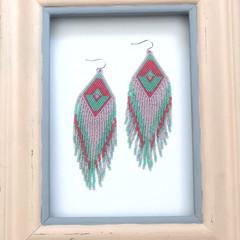 Handmade 10cms long drop earrings
