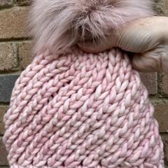 Pink knitted merino beanie PomPom purple chunky beanie ladies pink winter beanie