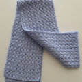 Light Blue Crocheted Scarf in Cotton Ready To Ship