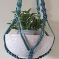 Hand made macrame plant hanger/holder - two tone blue/green