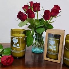 Old Garden Rose Reclaimed Wine Bottle Candle