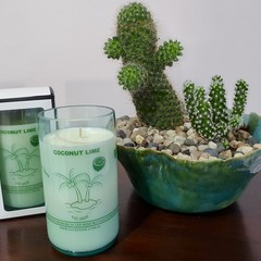 Coconut Lime Reclaimed Wine Bottle Candle
