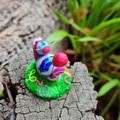 Polymer clay circus snail/party snail ornament- mini figure
