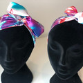Colourful Silk Mummy and Me Boho Wire Headband. Wired Headwrap