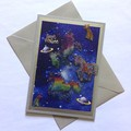 'Three Magical Unicorns Flying Free' Birthday Card